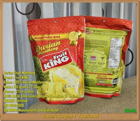 Keripik Durian Thailand Fruitking 100gram