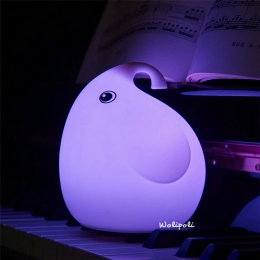 Lampu Tidur Motif Gajah Silikon LED 7 Warna USBRechargeable