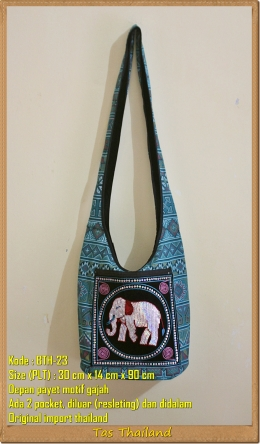 Jual Tas Selempang Payet Gajah Thailand Dual Pocket With Zipper