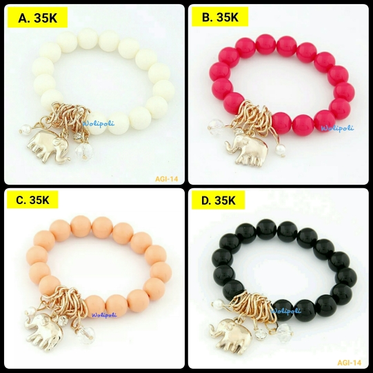 Gelang Gajah Big Beads Multiple Colour